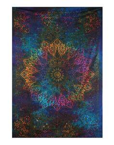 Twin Blue Tie Dye Bohemian Tapestry Elephant Star Mandala Tapestry Tapestry Wall