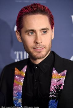 He loves to look different: Jared Leto wore a blazer with multicolored sequins on it...