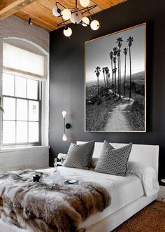 Find stylish examples of black accent walls perfect for a wall in your home that is tough to style. Domino shares photos of black accent walls to try in your home. Contemporary Bedroom, Modern Bedroom, White Bedrooms, Contemporary Art, Modern Art, Staircase Contemporary, Contemporary Building, Contemporary Cottage, Contemporary Apartment