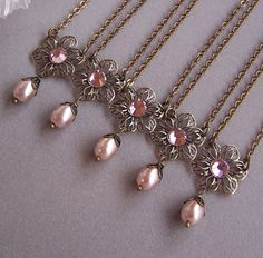 Set of 5 Bridesmaid Necklace Gifts  Vintage by lecollezione, $141.35