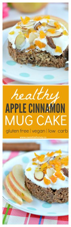 5-minutes Vegan Apple Cinnamon Mug Cake with Cashew Butter. Taste like cinnamon roll. A perfect clean eating mug cake to fix a 3 pm sweet craving.