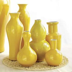 Set of Chinese style yellow vases at Neiman Marcus or Horchow