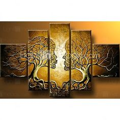 Hand-painted Wall Art Home Decorn Tree Of Life Pictures Modern Abstract 5 Piece Oil Painting On Canvas Without Frame 2016 - $44.09