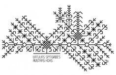 Folk art | The map of Latvia designed as Austra Tree (ancient Latvian ornament / symbol). Illustration by Indulis Martinsons
