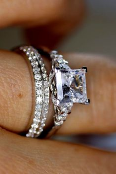 princess cut engagement rings white gold center stone
