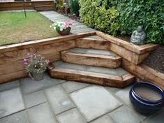 , Reclaimed railway sleepers used with block paving to create feature steps in split level garden. , Reclaimed railway sleepers used with block paving to create feature steps in spl. Garden Stairs, Terrace Garden, Garden Paths, Garden Stream, Garden Borders, Garden Beds, Back Gardens, Small Gardens, Outdoor Gardens