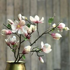 luxury artificial fake silk flowers pink tall magnolia branch lifelike realistic faux flowers buy online from Amaranthine Blooms Hong Kong UK