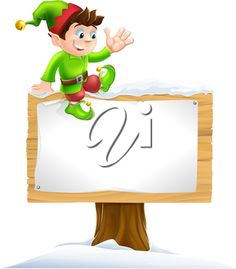 A cute Christmas elf on sitting on a snowy sign and waving
