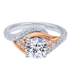 14K White/Rose Gold Bypass Engagement Ring  For a ring that really stands out!  #engagementrings #rosegold #whitegold