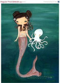 Mermaid Art Octopus Print Nautical Girl Wall Art by thepoppytree, $16.20