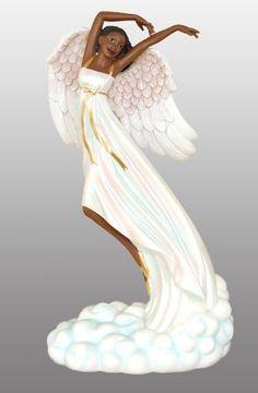 African American Figurine Graceful Angel Floating