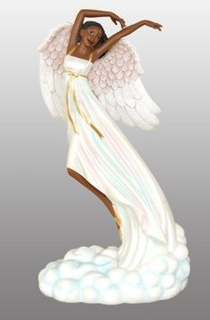 African American Figurine Graceful Angel Floating