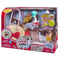 Chubby Puppies & Friends, Fashion Set with Carrier, Boxer NEW  #SpinMaster