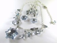 Swarovski Edelweiss Snowflake Asymetrical Necklace by BZOriginals