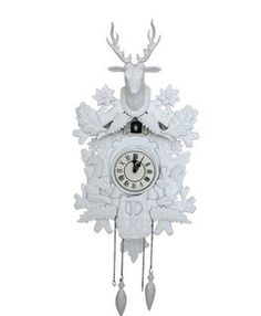White Retro Vintage DEER Theme Cuckoo Coocoo Clock/ Dec...