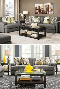 To create a neutral aesthetic, pick a lighter gray for the walls and select an off-white area rug and curtains. Then accent with yellow for a subtle pop of color. Or if you want to design a space full of color, choose blue paint and add yellow decor that echoes the canary color on the pillows.