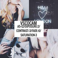 Vscocam Filter- A5+12/Exposure-2/Contrast+3/Fade+6/Saturation-3 Tumblr filter? #vsco#vscocam#vscofilter