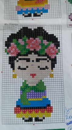 Cross Stitching, Cross Stitch Embroidery, Hand Embroidery, Bead Loom Patterns, Beading Patterns, Cross Stitch Designs, Cross Stitch Patterns, Pixel Art, Graph Paper Art