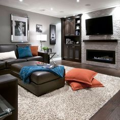 Basement Living Rooms, Modern Basement, Basement House, Living Room Remodel, Living Room Decor, Basement Walls, Basement Man Caves, Basement Apartment Decor, Basement Shelving