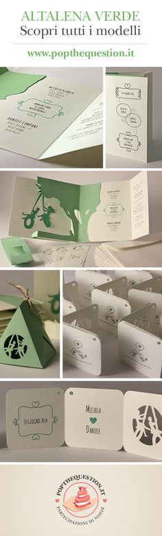 Ecco le nuove tonalità di verde della Collezione 2014! Michela e Daniele hanno scelto la partecipazione popup modello Altalena, e un assortimento di coordinati in stile Uccellini!