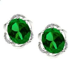 Bold Oval Cut Emerald Gemstone Diamond Sterling Silver Earrings Available Exclusively at Gemologica.com
