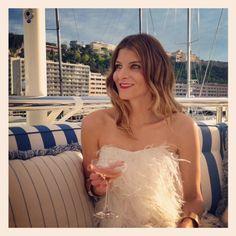 Kat's Eye: Harbourside in Monaco, Ferragamo white feather dress