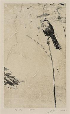 """the shrike"" woodblock lithograph by Tadashi Kobayashi"