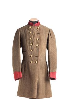 Confederate Officer's Frock Coat of Captain Willis Wilkinson, Company C, 1st Regiment, South Carolina Regulars. He served on the staff of General P.G.T. Beauregard (Dept. of South Carolina, Georgia and Florida) with the defense of Charleston S.C. in charge of inspecting heavy artillery. Wilkinson later served on General Henry Heth's Division Staff in the Army of Northern Virginia.