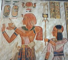 Pharaoh Seti and his son prince Rameses making offering