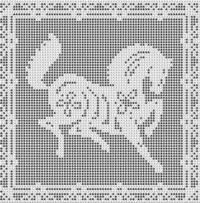 Filet Crochet Patterns - Other Animals - HORSE FILET CROCHET PATTERN Doily Afghan Picture