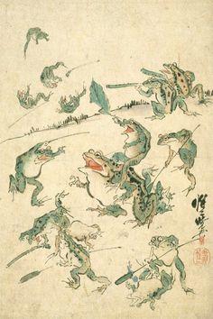 Japanese Art Prints, Japanese Drawings, Japanese Artwork, Japanese Painting, Chinese Painting, Frog Illustration, Japanese Illustration, Botanical Illustration, Art Chinois