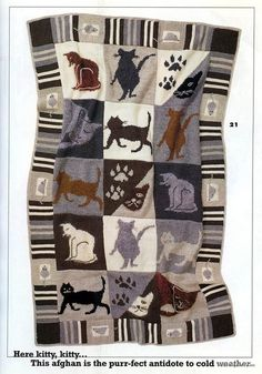 Lovely cat afghan, I sooo wish I was able to even remotely understand these instructions. Maybe if I put my mind to it some day...