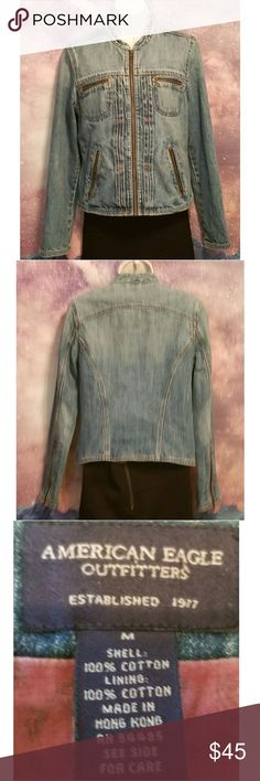 American Eagle Denim Jacket Excellent Condition Size Medium With Zippers on Front and on the Sleeves American Eagle Outfitters Jackets & Coats Jean Jackets