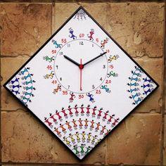 Colourful Handmade Hand Painted Warli Wall Clock for Kids