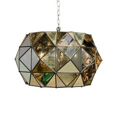 "Rozz UFO style pendant in antique mirror ANT MIRROR UFO PENDANT W INTERIOR 3-LIGHT CLUSTER 14H x 24""Dia Hardwire only 3' antique brass chain and canopy 60 watt"