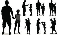 Vectores libres de derechos: Father and Daughter Silhouette