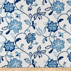 Ansley Home Decor Floral White/Blue from @fabricdotcom  Screen printed on a lightweight cotton duck, this fabric features a natural slub and is perfect for window treatments (draperies, valances, curtains, and swags), bed skirts, duvet covers, pillow shams, accent pillows, slipcovers and bedding. Colors include blue and white.