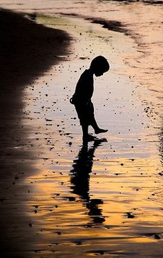 Child playing in the shallow water and sand on the beach.