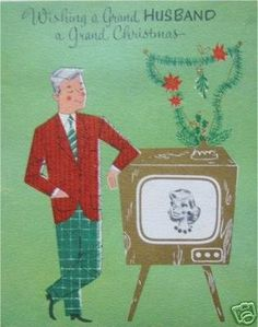 """1950's """"To Husband"""" Retro Television w/Wife X-Mas Card                                                                                                                                                      More"""