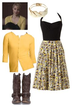 """""""Glee Quinn Anthropologie Dress Nordstrom Cardigan"""" by lilbailey ❤ liked on Polyvore featuring Golden Goose, BP., Jane Norman, nordstrom, anthropologie, quinn fabray, dianna agron and glee"""
