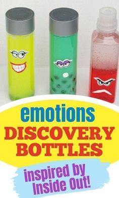 Use these DIY emotions discovery bottles inspired by Disney's Inside Out to help your child learn and understand feelings and emotions. Find out from LalyMom how to make these EASY DIY discovery bottles for toddlers, preschoolers, and even kindergarteners to help them understand the different emotions and how to express their feelings.