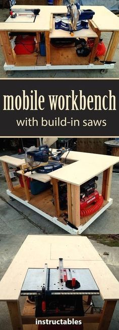 Workbench With Built-in Table & Miter Saws Get the instructions for how to make a mobile workbench for your shop.Get the instructions for how to make a mobile workbench for your shop. Mobile Workbench, Workbench Plans, Woodworking Workbench, Woodworking Workshop, Woodworking Equipment, Woodworking Furniture, Garage Workbench, Furniture Plans, Workbench Designs