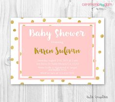 Baby shower girl coral and gold foil polka dot invitation PLEASE READ OUR POLICIES BEFORE PURCHASE OUR PRODUCT: https://www.etsy.com/shop/ceremoniaGlam/policy?ref=shopinfo_policies_leftnav  Office hours are: Monday trough Friday 4pm - 8pm ( CENTRAL TIME ) Saturday 7 pm - 10 pm CLOSED: Sunday and Holidays   BABY SHOWER PRINTABLE INVITATION  Format: 5x7 or 4x6 300 DPI JPEG - Digital file ♥You can print as many as you need at your local photo lab or from home printer!  ♥ If you have any…