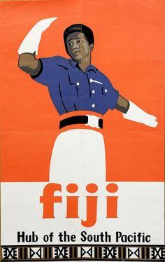 Fiji:: Hub of the South Pacific Fiji Animals, Fiji People, Bora Bora, Fiji Travel, Polynesian Designs, Tourism Poster, People Of Interest, South Pacific, Vintage Travel Posters
