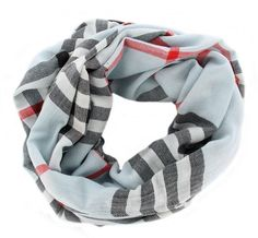 Classic Blue Infinity Loop #Plaid #Cashmere Check Wrap Cowl Scarf.