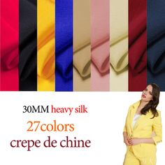 30mm 114cm width 27 colors  Pure Silk Crepe de Chine Fabric  for Fashion Apparel Clothing DF007 by 123Silk on Etsy