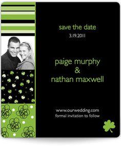 Love of the Irish Save the Date Magnet! #shamrock #clover #wedding