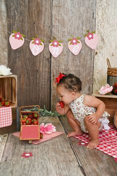 First Birthday Pictures, Baby First Birthday, Birthday Cake, Strawberry Baby, Strawberry Picking, 1st Birthday Photoshoot, Photoshoot Themes, Children Photography, Family Photography