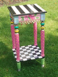 painted furniture | Incredible 12 x 12 Hand Painted Accent Side Table. $164.00, via Etsy.
