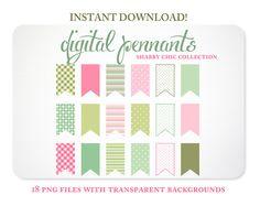 Digital Pennants  Patterned Clipart  Digital by KellyJSorenson, $5.00